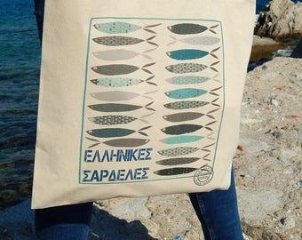 Greek Sardines  - Cotton Tote