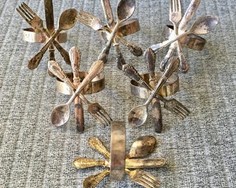 Set of 6 Silverplate Mid Century Knife Fork and Spoon Napkin Ring Holders