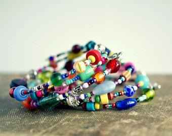 colorful beaded boho bracelet, wrap bracelet, rainbow jewelry, gift for her, under 20