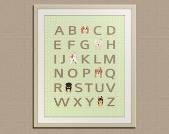 Dog alphabet nursery art for children. Typography alphabet print, dog art print for kids. Nursery decor, kids decor, ABC print