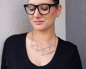 Silver Tone Geometric Bib Necklace