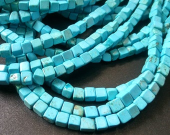 Natural Blue turquoise cube beads,turquoise blue Stone Cube Beads 4x4x4mm- approx 90pcs/Strand