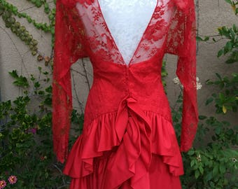 Vintage 1980s designer Jill Richards Nieman Marcus red lace illusion tiered cocktail dress size S M