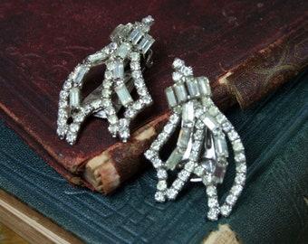 1950s Earrings Art Deco Rhinestone Baguette Clip On Earrings
