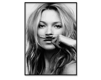 Kate Moss poster, life is a joke print, moustache, fashion wall art, fashion photography, black and white, digital download art, instant