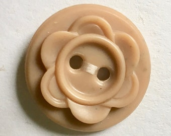 Vintage Beige or Tan Early Plastic Fancy Buttons for Sewing and Crafts