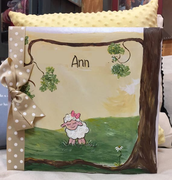 Baby Book | Little Lamb Baby Memory Book | Hand Painted CoverSweet Baby Lamb Keepsake Book |  Personalized Scrapbook Style Baby Book