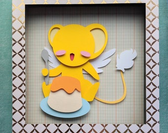 "CardCaptor Sakura with Clow Wand Layered Paper Cut Art Piece 8""x8"" Shadowbox Frame"