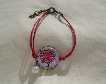 Tree of life red cabochon bracelet