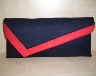 Navy blue and red asymmetrical faux suede clutch bag UK produced