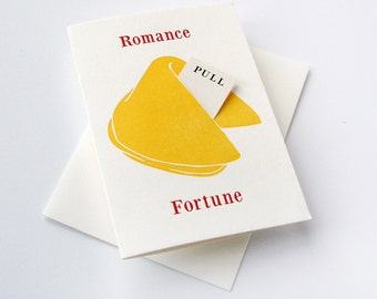 Letterpress Love and Romance - Anniversary card- Fortune Cookie - Romance Kisses