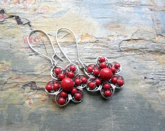 Red Coral Pearl Drop Earrings, Floral Filigree, Glass Pearl, Antiqued Silver, Flower Earrings, Beach Jewelry, Glass Pearls, Summer Fashion