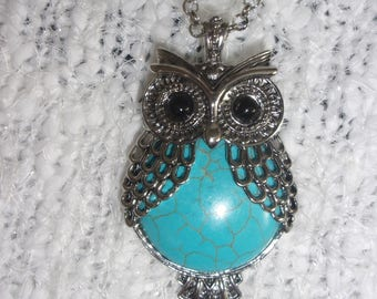 Silver and turquoise feathered owl