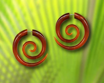 Large Amber Spiral Earrings, Fake Gauge Earrings, Rare Caramel Horn, Tribal Earrings, Fake Piercing,  Fake Plugs, SA4