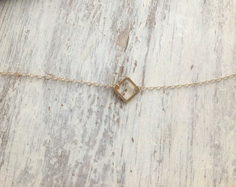 gold necklace, tiny gold necklace, simple necklace, dainty necklace, square necklace, holiday gift idea- 017