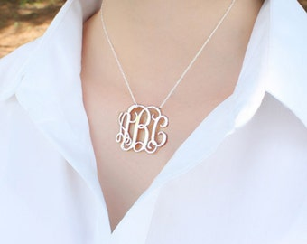 Sterling silver monogram necklace,1 inch monogram jewelry,,personalized monogrammed gifts