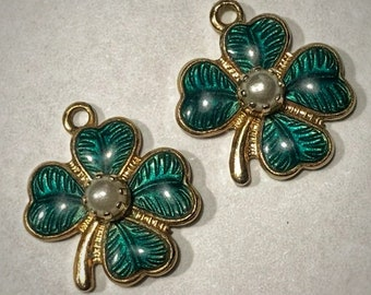 Vintage Four-Leaf Clover Jewelry Charms