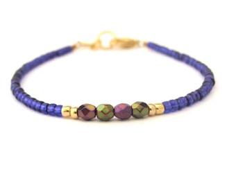 Purple Friendship Bracelet, Seed Bead Bracelet, Purple Bracelet, Beaded Bracelet, Friendship Bracelet, Hawaiian Jewelry, Zen Yoga Bracelet