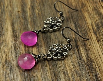 Memorial Day Sale - Hot Pink Chalcedony Filigree Oxidized Silver Earrings