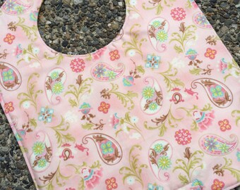 TODDLER or NEWBORN Bib: Paisley Flowers on Pink, Personalization Available