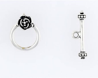 """Sterling Silver 1"""" Rose Toggle Clasp"""