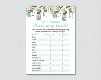 Mason Jar Baby Shower Who Knows Mommy Best Printable - Aqua Baby Shower Game - Digital Instant Download - Mason Jar Shower Game - 0064-A