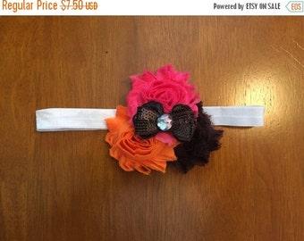 Pink, orange, brown, and white shabby flower trio headband