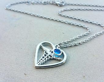 Heart Caduceus I love medicine medical doctor gift personalized birthstone custom gift graduation