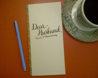 3rd Anniversary // Dear Husband On Our 3rd Anniversary Journal // Staple Bound Journal