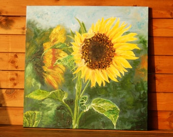 Sunflower. Original Large Oil Painting