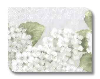 Floral paper napkin for decoupage x 1. Hortensia White. No 1279