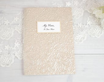 Custom Vow Books, Wedding Vows, Personalized Vow Book, Champagne, Wedding Vow Book, Wedding Vows Keepsake, His & Hers Vows, Made to Order