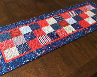 Patriotic Quilted Table Runner - red, white, blue squares