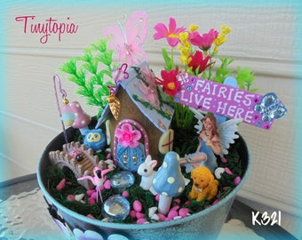 "Blue ""Fairies Live Here"" Fairy Garden Set ~ Includes Container and Plants"
