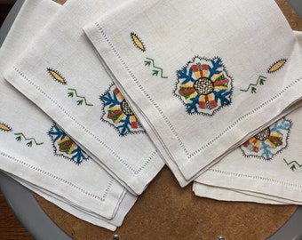 Vintage Napkins, with blue/yellow/brown/green floral embroidery, with hemstitch border, set of 4
