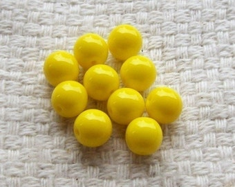 Sunshine Yellow Opaque Glass 8 mm Beads - Set of 20