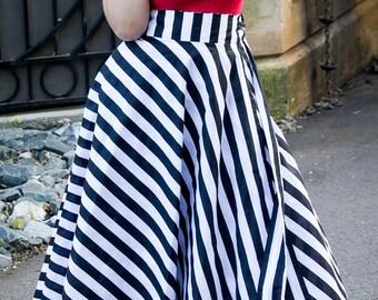 "Plus Size Maxi Skirt Stripes plus size High Waist / plus size  2 - 24 ) 42"" L"