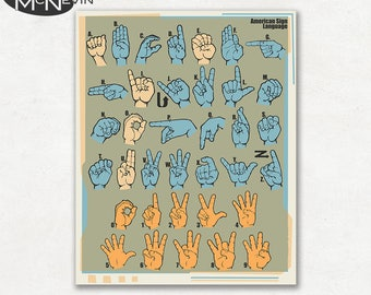 AMERICAN SIGN LANGUAGE, Educational Language Chart, Science and Education Poster