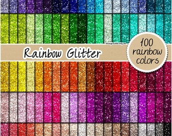 SALE 100 glitter digital paper rainbow glitter digital paper glitter clipart scrapbooking printable glitter 12x12 pastel gold silver pink
