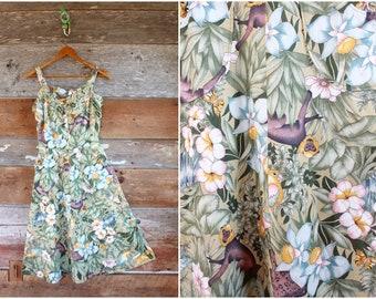 vintage jungle print sundress | cotton summer dress with monkeys zebras parrots and more! | size xxs
