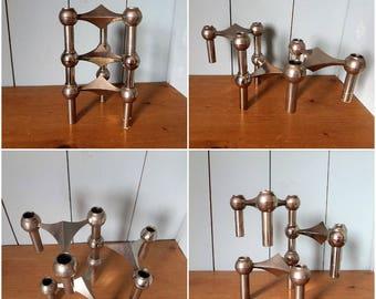 Elegant 60s vintage NAGEL design modernist modular candlesticks holder/ Cottage chic