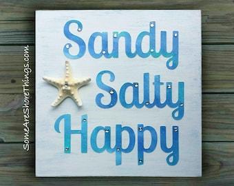 Beach Sign. Sandy, Salty, Happy Wooden Rustic Starfish Wall Plaque Unique Handmade Coastal Cottage Decor. Beach Sign Coastal Glam Decor.