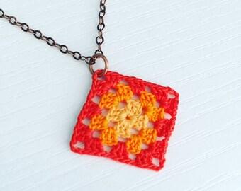 Lincoln Square Crochet Necklace in Persimmon / Bright Orange / Melon, Granny Square Pendant, Gradient, Gift Under 50, Summer Style, Tropical