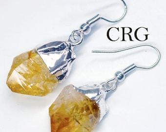 Silver Plated Citrine Point Earrings (ER2BT)