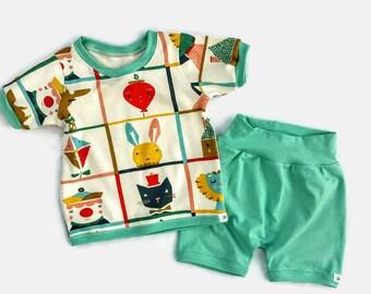 Baby Boy ORGANIC Cotton Knit Set, Infant Boy Organic Cotton Outfit, Baby Boy T-Shirt Set, Baby Boy Cotton Shorts , Baby Boy Summer Clothes