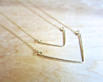 Small Hand Forged Chevron Necklace - 14k Gold or Sterling Silver - Hammered Metal Necklace - Minimalist - Geometric Necklace - Gold Chevron