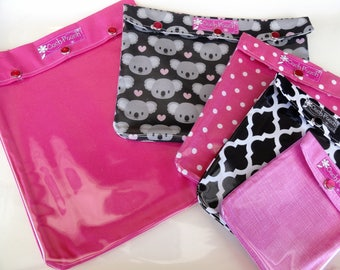 Koalas & Pinks Clear Front Ouch Pouch Set of 5 Baby Diaper Bag Luggage Purse Organizers for Medication First Aid Inhaler Cosmetics Travel