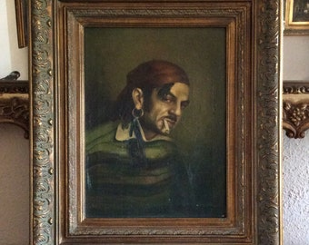 Sale Antique Oil Painting Portrait of a Pirate Gentleman Smoking O/C European Art Framed Home Decor