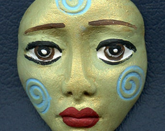 Polymer Clay One of a Kind  Spirit Doll Abstract Textured  Face Cab   Un Drilled SF 8