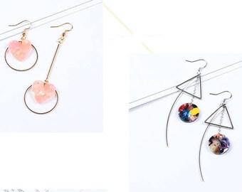 Kit diy earring round heart stem felur fabric lace chain no.34